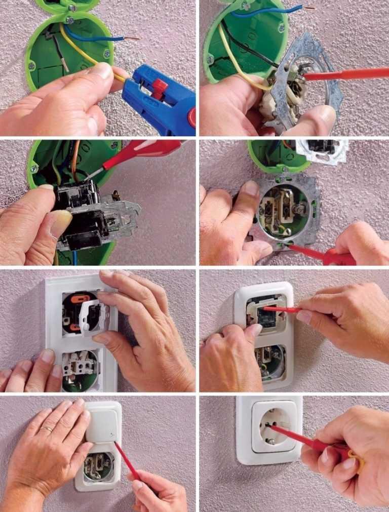 Как установить розетку с выключателем своими руками